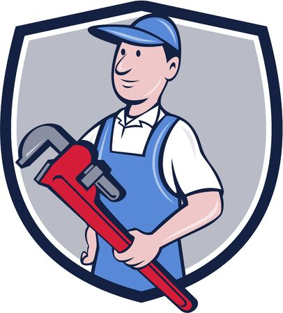 Illustration of a handyman wearing hat looking to the side holding pipe wrench viewed from front set inside crest shield on isolated background done in cartoon style. Illustration