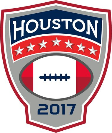 gridiron: Illustration of an American football ball big game with stars and stripes set inside shield crest with words Houston 2017 done in retro style. Illustration