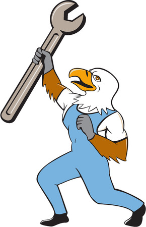 Illustration of a mechanic american bald eagle holding spanner standing with one leg bent looking to the side set on isolated white background done in cartoon style. Illustration