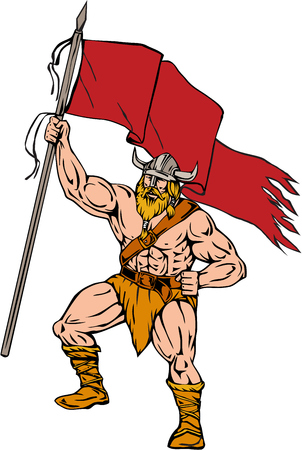 Illustration of a norseman viking warrior raider barbarian wearing horned helmet with beard holding brandishing red flag viewed from front set on isolated white background done in retro style. Illustration