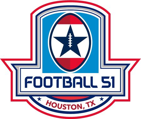 tx: Illustration of an American football ball big game with stars and stripes set inside shield crest with words text Football 51 Houston, TX done in retro style. Illustration