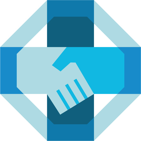 relationships: Illustration of hand shaking forming a cross viewed from the side set inside octagon shape done in retro style.