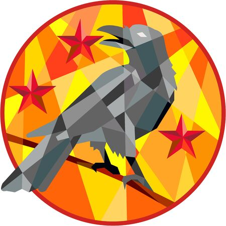Low polygon style illustration of a crow bird perched on a piece of wood looking back set inside circle with stars in the background. Illustration