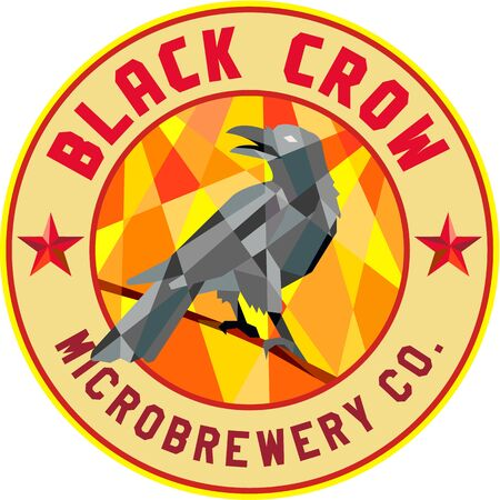 microbrewery: Low polygon style illustration of a crow bird perched on a piece of wood looking back set inside circle with the words Black Crow Microbrewery Co.