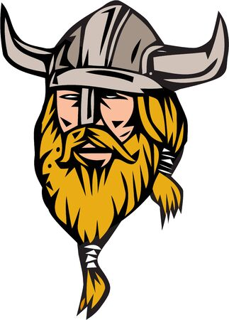Illustration of a norseman viking warrior raider barbarian head with beard wearing horned helmet viewed from front set on isolated white background done in retro style.