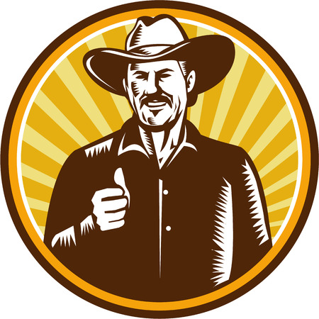 front facing: Illustration of a cowboy smiling wearing hat thumbs up facing front set inside circle with sunburst in the background done in retro woodcut style.