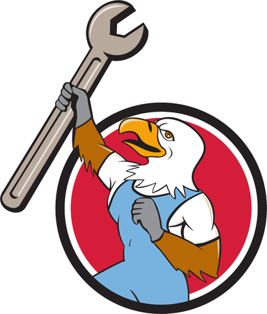 Illustration of a american bald eagle mechanic holding spanner looking to the side set inside circle on isolated background done in cartoon style.