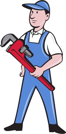 Illustration of a handyman wearing hat looking to the side standing holding pipe wrench viewed from front set on isolated white background done in cartoon style. Illustration