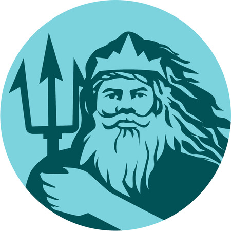 merman: Illustration of triton mythological god holding trident viewed from front set inside circle on isolated background done in retro style.