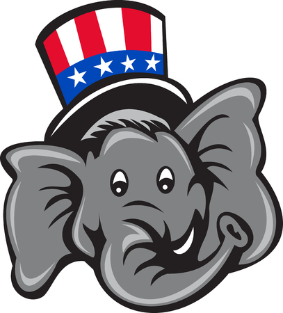 Illustration of an American Republican GOP elephant mascot head wearing usa stars and stripes top hat viewed from front set on isolated white background done in cartoon style.