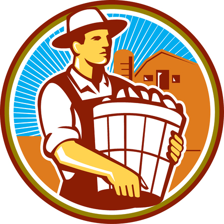 farm worker: Illustration of an organic farmer wearing hat carrying basket of harvest crops looking to the side set inside circle with barn and sunburst in the background done in retro style.