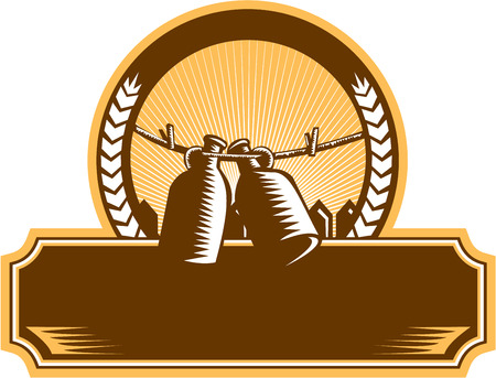 draft beer: Illustration of a growler, a glass, ceramic, or stainless steel jug used to transport draft beer in the United States hanging on a clothesline set inside circle with picket fence and sunburst in the background done in retro woodcut style.
