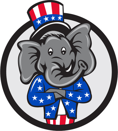 Illustration of an American Republican GOP elephant mascot arms crossed wearing usa stars and stripes top hat and suit viewed from front set inside circle on isolated background done in cartoon style.