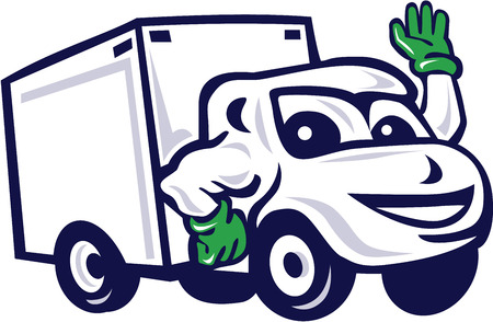 industrial vehicle: Illustration of a closed delivery van truck waving viewed from front set on isolated white background done in cartoon style.