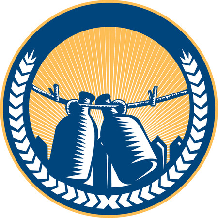 printmaking: Illustration of a growler, a glass, ceramic, or stainless steel jug used to transport draft beer in the United States hanging on a clothesline set inside circle with picket fence and sunburst in the background done in retro woodcut style.