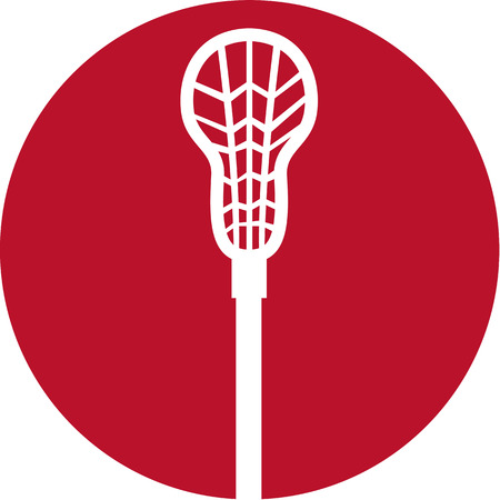 crosse: Icon illustration of a crossed lacrosse stick set inside circle on isolated background.