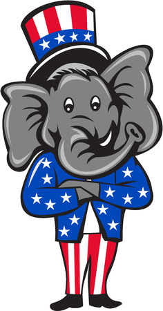 pachyderm: Illustration of an American Republican GOP elephant mascot standing and arms crossed wearing usa stars and stripes top hat and suit viewed from front set inside circle on isolated background done in cartoon style. Illustration