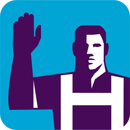 right to vote: Illustration of a worker raising right arm to vote viewed from front set inside square shape done in retro style.