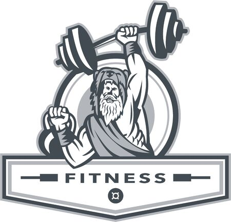 Illustration of a berserker, a champion Norse warrior wearing pelt of bear skin lifting barbell and kettlebell viewed from front set inside circle with the word text Fitness inside banner done in retro style.