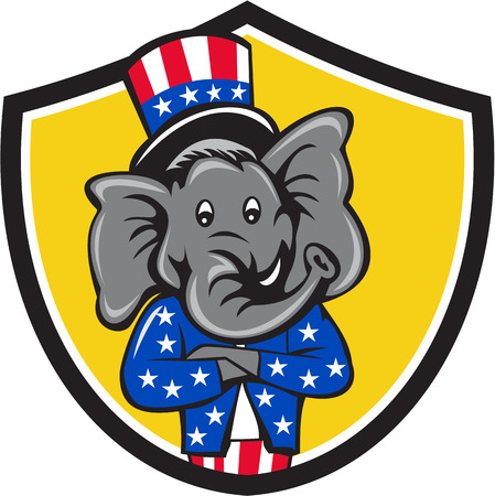 Illustration of an American Republican GOP elephant mascot arms crossed wearing usa stars and stripes top hat and suit viewed from front set inside shield crest on isolated background done in cartoon style.