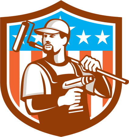 facial hair: Illustration of a handyman with beard moustache facial hair holding paint roller on shoulder and cordless drill looking to the side set inside shield crest with usa flag stars and stripes in the background done in retro style. Illustration