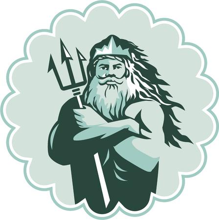 mythological: Illustration of triton mythological god arms crossed holding trident viewed from front set inside rosette on isolated background done in retro style. Illustration