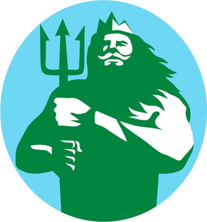 mythological: Illustration of triton mythological god holding trident viewed from front set inside circle on isolated background done in retro style.