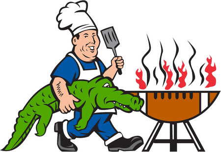 Illustration of a chef smiling carrying alligator in one hand and holding spatula in the other hand cooking with bbq grill viewed from front set on isolated white background done in cartoon style.