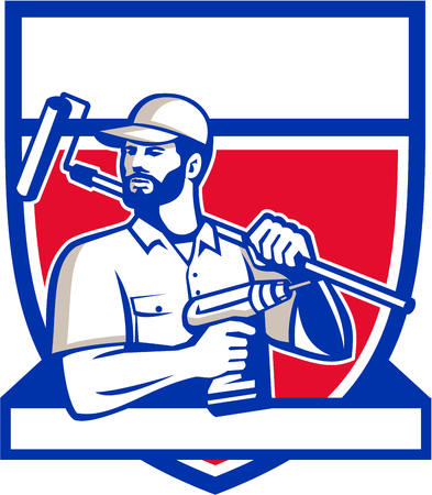 paintroller: Illustration of a handyman with beard moustache facial hair holding paintroller on shoulder and cordless drill looking to the side set inside shield crest on isolated background done in retro style.