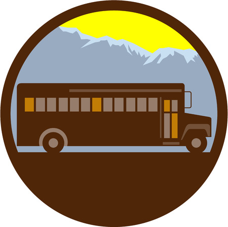 Illlustration de un autobús escolar de la vendimia visto del lado con las montañas en el fondo fijado dentro del círculo hecho en estilo retro.