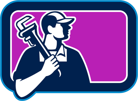 Illustration of a plumber holding pipe wrench on shoulder looking to the side viewed from front set inside rectangle shape on isolated background done in cartoon style. 일러스트
