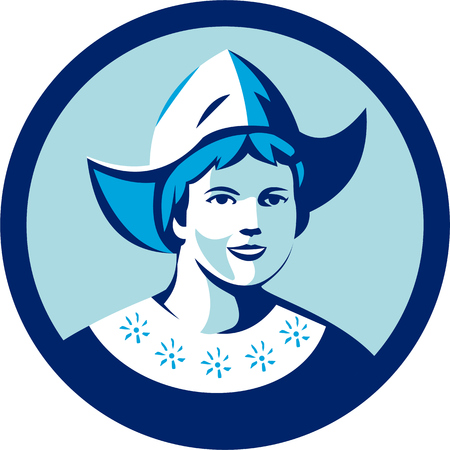 hat cap: Illustration of a Dutch lady wearing traditional dutch cap or dutch bonnet that resemble a nurses hat facing front set inside circle done in retro style.