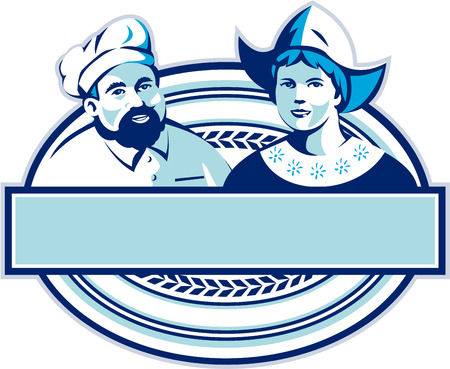 bonnet: Illustration of a baker and Dutch lady wearing traditional dutch cap or dutch bonnet that resemble a nurses hat set inside oval shape with banner done in retro style.