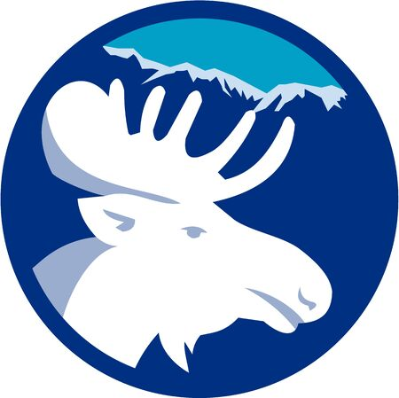 Illustration of a moose head viewed from the side set inside circle with mountains alps in the background done in retro style.