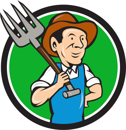 Illustration of organic farmer holding pitchfork on shoulder looking to the side viewed from front set inside circle on isolated background done in cartoon style.