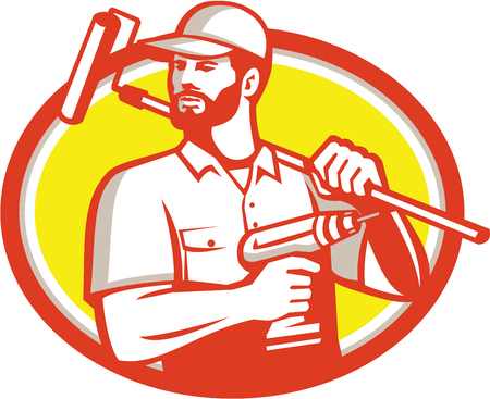 man with a goatee: Illustration of a handyman with beard moustache facial hair holding paint roller on shoulder and cordless drill looking to the side set inside oval shape on isolated background done in retro style. Illustration