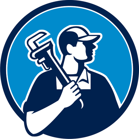 monkey wrench: Illustration of a plumber holding pipe wrench on shoulder looking to the side viewed from front set inside circle on isolated background done in cartoon style. Illustration