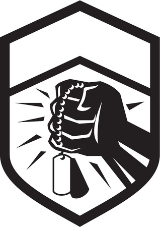 dogtag: Illustration of a clenched fist clutching holding dogtag set inside shield crest done in black and white retro style. Illustration