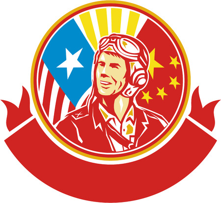 us air force: Illustration of a world war two pilot airman aviator smiling looking to the side with USA and China flags in the background in the background set inside circle done in retro style.