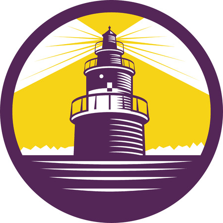Illustration of a lighthouse viewed from front set inside circle done in retro woodcut style. Illustration