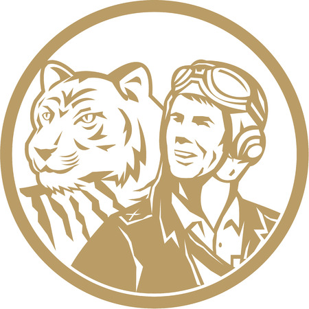 airman: Illustration of a world war two pilot airman aviator and tiger looking to the side set inside circle done in gold retro style. Illustration