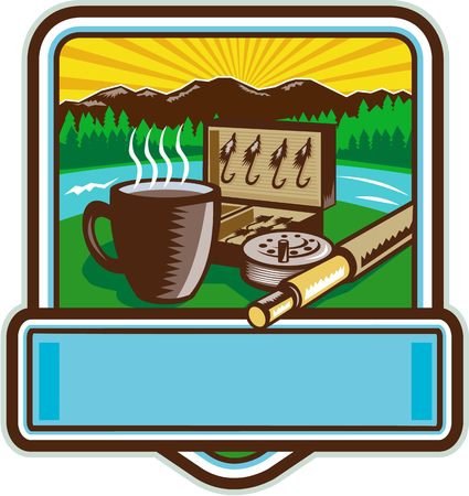 bait box: Illustration of a mug, fly tackle bait box, fly rod and reel set inside crest shield with mountain river trees and sunburst in the background done in retro woodcut style.