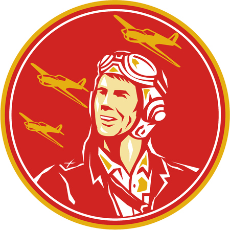world war two: Illustration of a world war two pilot airman aviator smiling looking to the side with fighter planes in the background set inside circle done in retro style. Illustration