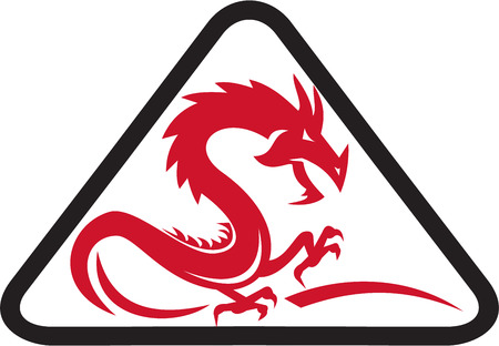 red dragon: Illustration of a silhouette of a red dragon viewed from the side set inside triangle shape on isolated background done in retro style.