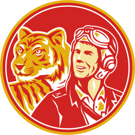 airman: Illustration of a world war two pilot airman aviator and tiger looking to the side set inside circle done in retro style.