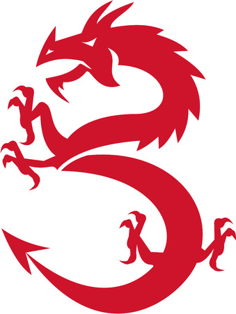 red dragon: Illustration of a silhouette of a red dragon prancing viewed from the side set on isolated white background done in retro style.