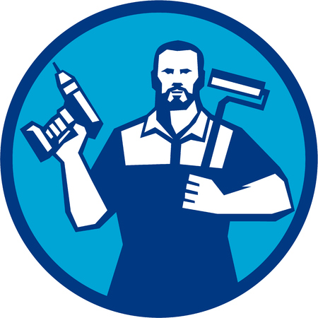 facial hair: Illustration of a handyman with beard moustache facial hair holding paint roller on shoulder and cordless drill viewed from front set inside circle on isolated background done in retro style.
