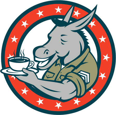 jack ass: Illustration of a donkey army sergeant smiling holding cup and saucer drinking coffee viewed from the side set inside circle with stars done in cartoon style.