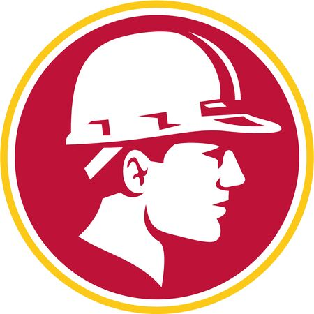 construction helmet: Illustration of a builder construction worker head wearing hardhat viewed from the side set inside circle on isolated background done in retro style.