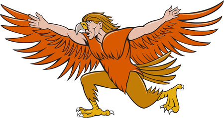 spreading: Illustration of a Lleu  or Lleu Llaw Gyffes, half man half eagle spreading wings viewed from the side on isolated white background done in cartoon style. Illustration